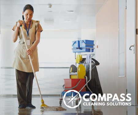 Mopping an office floor
